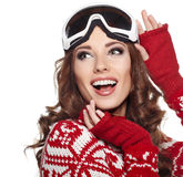 Kobieta z narciarskim gogle odizolowywającym na bielu Zdjęcie Royalty Free