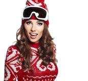 Kobieta z narciarskim gogle odizolowywającym na bielu Obraz Stock