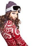 Kobieta z narciarskim gogle odizolowywającym na bielu Zdjęcia Royalty Free