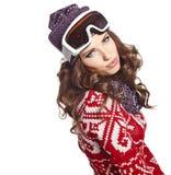 Kobieta z narciarskim gogle odizolowywającym na bielu Fotografia Royalty Free