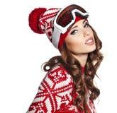 Kobieta z narciarskimi gogle Zdjęcia Stock