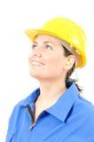 Kobieta z ochronnym wyposażeniem i zatyczka do uszu Zdjęcie Royalty Free