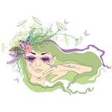 Kobieta z oczami zamykającymi royalty ilustracja