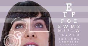 Kobieta z oko ostrości pudełka szczegółem, liniami i oko próbnym interfejsem Zdjęcie Stock
