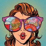 Kobieta z okularami przeciwsłoneczne Fast food i cukierki w odbiciu ilustracji