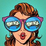 Kobieta z okularami przeciwsłoneczne pieniędzy dolary w odbiciu royalty ilustracja