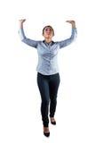 Kobieta z ona ręki i ręki podnoszący upwards Fotografia Royalty Free