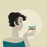 Kobieta z owoce morza przekąski portretem Zdjęcia Royalty Free