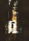 Kobieta z parasolem ilustracja wektor