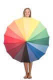 Kobieta z parasolem odizolowywającym Zdjęcia Royalty Free