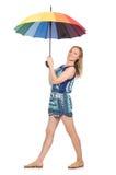 Kobieta z parasolem odizolowywającym Obrazy Royalty Free