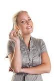 Kobieta z piórem Obraz Royalty Free