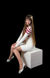 Kobieta z pięknymi długimi brown włosami fotografia stock