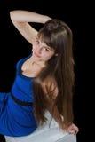 Kobieta z pięknymi długimi brown włosami obraz royalty free