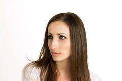 Kobieta z Pięknymi oczami Odizolowywającymi na Białym tle obraz royalty free