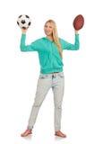 Kobieta z piłkami odizolowywać Zdjęcie Royalty Free