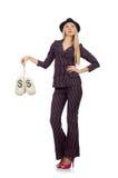 Kobieta z pieniędzy workami odizolowywającymi Zdjęcia Stock