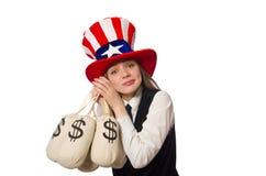 Kobieta z pieniędzy workami na bielu Fotografia Royalty Free