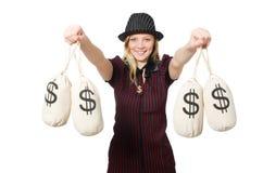 Kobieta z pieniędzy workami na bielu Obraz Stock