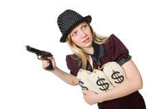 Kobieta z pieniędzy workami na bielu Obrazy Stock