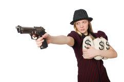 Kobieta z pieniędzy workami na bielu Zdjęcia Stock