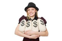 Kobieta z pieniędzy workami na bielu Fotografia Stock