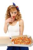 Kobieta z pizzą Zdjęcia Stock