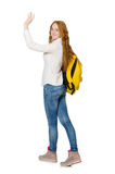 Kobieta z plecakiem odizolowywającym Obraz Royalty Free