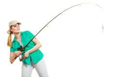 Kobieta z połowu prąciem, przędzalniany wyposażenie zdjęcia stock