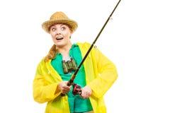 Kobieta z połowu prąciem, przędzalniany wyposażenie obraz stock