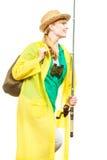 Kobieta z połowu prąciem, przędzalniany wyposażenie fotografia royalty free