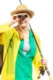 Kobieta z połowu prąciem, przędzalniany wyposażenie obrazy stock