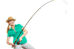 Kobieta z połowu prąciem, przędzalniany wyposażenie fotografia stock