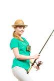 Kobieta z połowu prąciem, przędzalniany wyposażenie obraz royalty free