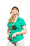 Kobieta z połowu prąciem, przędzalniany wyposażenie zdjęcia royalty free