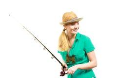 Kobieta z połowu prąciem, przędzalniany wyposażenie zdjęcie royalty free