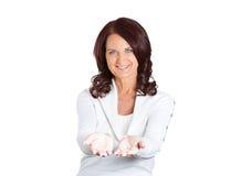 Kobieta, z podnosić up palm ofertami pomaga Obraz Royalty Free