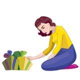 Kobieta z prezentami Obrazy Stock