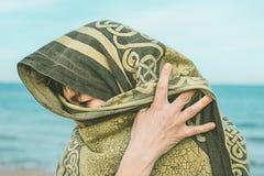 Kobieta z przesłoną na jej głowie obrazy royalty free