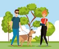 Kobieta z ręki frature i mężczyzna stora z psem ilustracja wektor