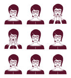 Kobieta z różnym wyrazem twarzy Fotografia Royalty Free