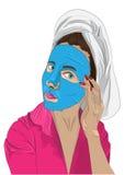 Kobieta z ręcznikiem na jej kierowniczej, odosobnionej wektorowej ilustraci, piękna twarzy moda uzupełniająca kobieta również zwr Fotografia Royalty Free