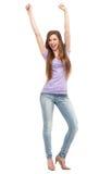 Kobieta z rękami podnosić Zdjęcia Royalty Free