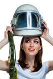Kobieta z rocznika astronauta hełmem zdjęcia stock