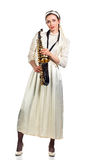 Kobieta z saksofonem na bielu Obraz Stock