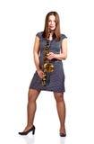 Kobieta z saksofonem odizolowywającym na bielu Zdjęcia Stock