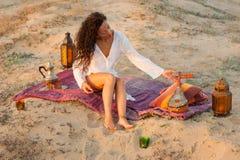 Kobieta z sitar Obraz Royalty Free