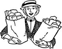 Kobieta Z sklepami spożywczymi Zdjęcie Royalty Free