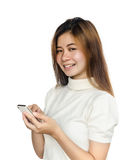 Kobieta z smartphone Fotografia Stock