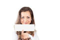 Kobieta z sprzedaż znakiem Zdjęcie Royalty Free